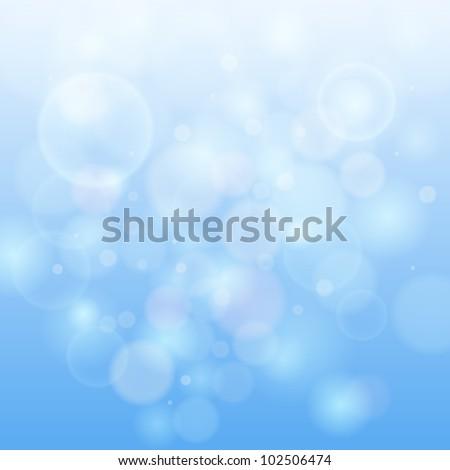 Blue bokeh abstract light background. Vector illustration. - stock vector