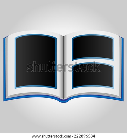 Blue book with blank photo frames on grey background - stock vector