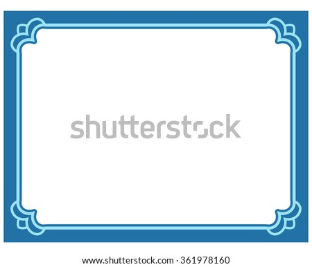 Blue border frame deco vector label simple line corner - stock vector