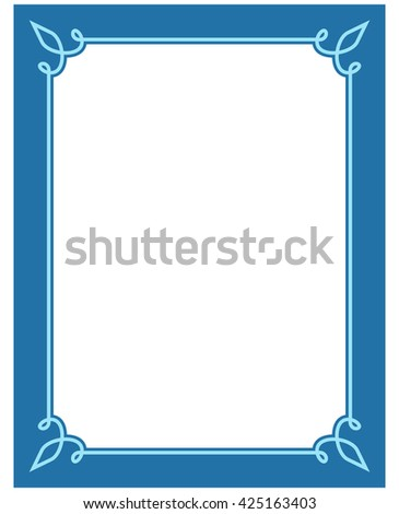 simple frame border design. Blue Border Frame Deco Vector Label Simple Line Corner Design N