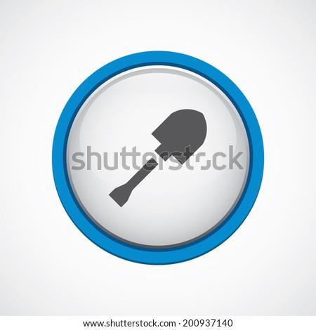 blue bordered circle shovel icon - stock vector