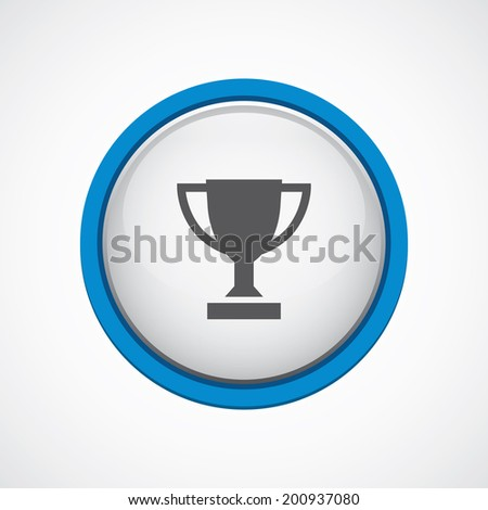 blue bordered circle winner cup icon - stock vector