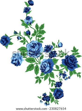Blue bouquet.Vector flowers. - stock vector
