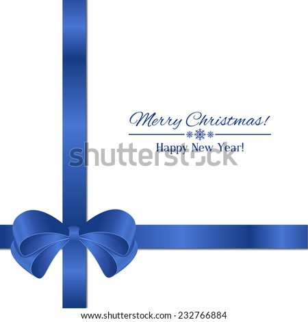 blue bow isolated on white background  - stock vector