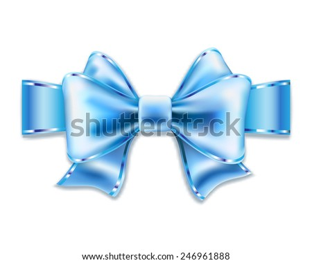 Blue bow isolated on white. Vector illustration. - stock vector