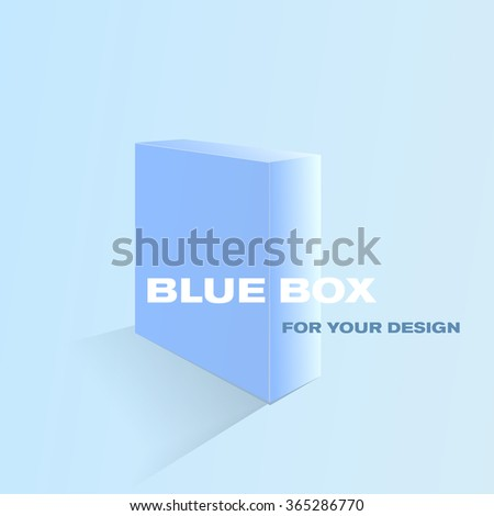 Blue box for your design. Beautiful three-dimensional blue box - stock vector