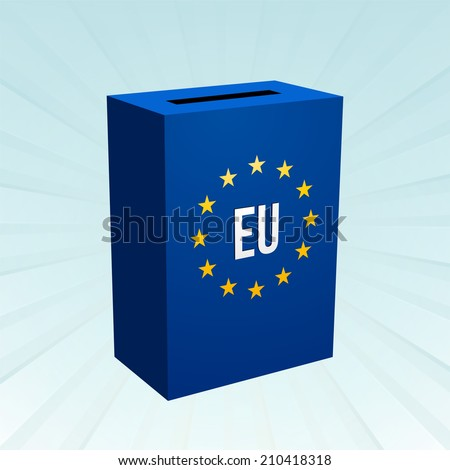 blue box with the motif of EU - stock vector