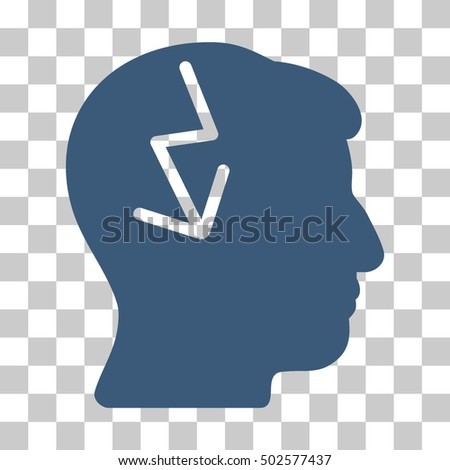 Blue Brain Electric Strike interface icon. Vector pictogram style is a flat symbol on chess transparent background.