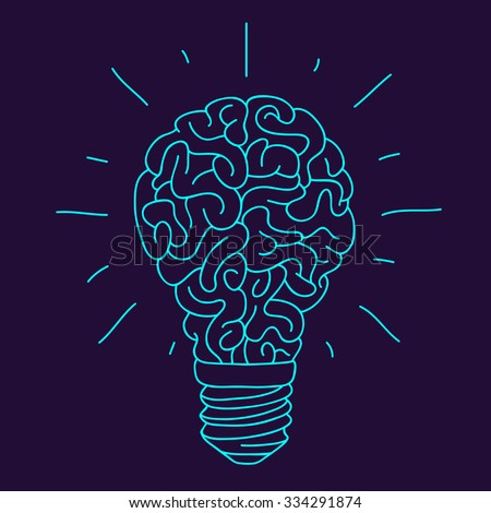 Blue Brain in the form of a burning light bulb with sparks. Vector illustration drawn by hand on a dark blue background. - stock vector