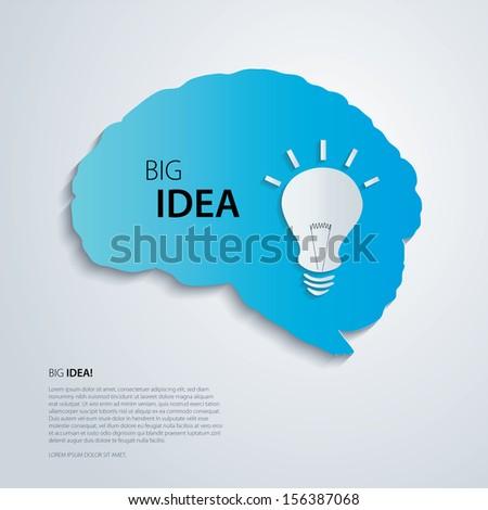 Blue brain with bulb, idea concept. - stock vector