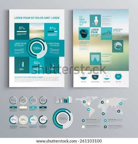 Blue brochure template design with square shapes. Cover layout and infographics - stock vector