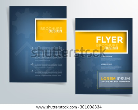 Blue brochure template flyer design background and yellow square box element and space for add picture and add text for engineer and industry article for your artwork in A4 paper Size , vector eps10 - stock vector