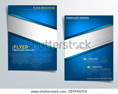 Blue brochure template vector background flyer design with blue label concept elements silver label idea and sample text for text and message brochure artwork design in A4 size - stock vector