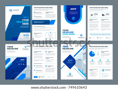Lovely Blue Brochures Annual Reports Flyers Design Templates Set, Vector Abstract  Flat Background With Logo Design  Annual Reports Templates