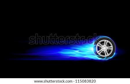 Blue Burning wheel. Illustration on black background - stock vector