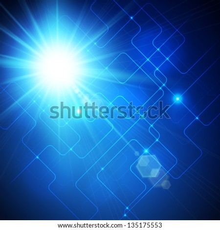 Blue burst, abstract background
