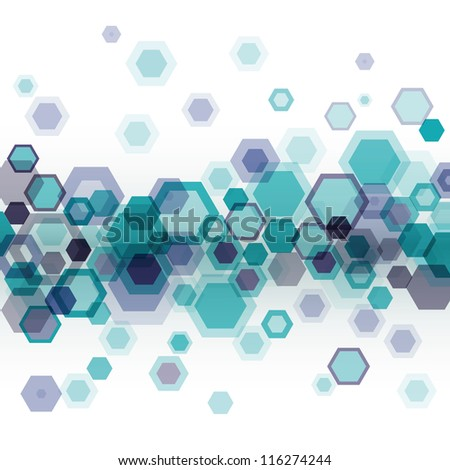 Blue business abstract geometrical background with horizontally arranged hexagons over white. Eps10 - stock vector