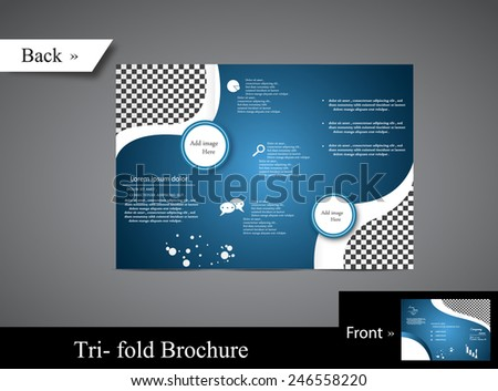 Blue Business Brochure with wave - stock vector