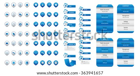 Blue business button set
