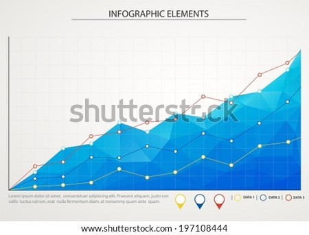 Blue business chart graph with three lines of increase - stock vector