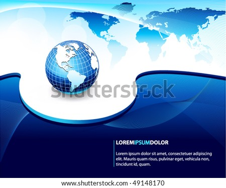 blue business vector design with earth globe - stock vector