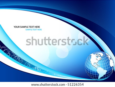 blue business vector design with earth globe