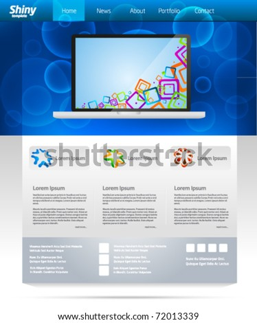Blue business web template layout with laptop slider - stock vector