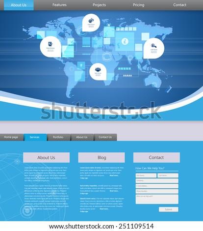 Blue Business Website template. Eps 10 vector - stock vector