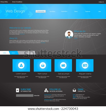 Blue business website template home page stock vector 2018 blue business website template home page design clean and simple with a space flashek Choice Image