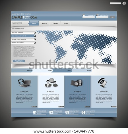 blue business website template - with halftone map - stock vector