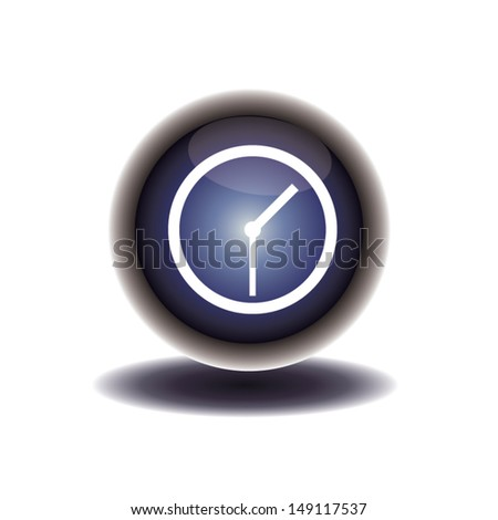 blue button clock icon. vector illustration