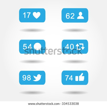 Blue button icon set like,followers,comment notification  for following facebook twitter instagram websites,blog, interfaces. Vector illustration social media  eps 10. - stock vector