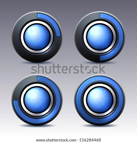 Blue button with digital timer. Vector. - stock vector