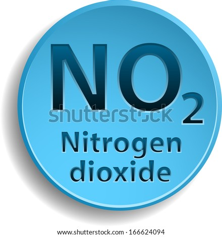 Blue button with nitrogen dioxide. eps10 - stock vector