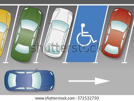 Blue car going pass handicapped spot on parking - stock vector