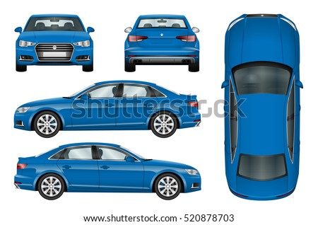 blue car vector template on white background business sedan isolated all elements in groups