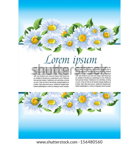 Blue card with daisies and a place for text