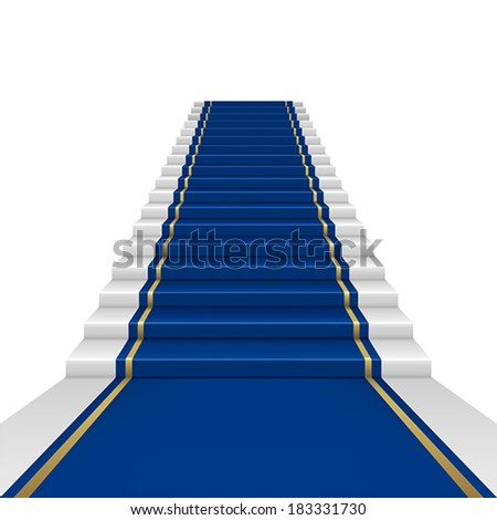 Blue carpet with guard. Clipping Mask. Mesh. - stock vector