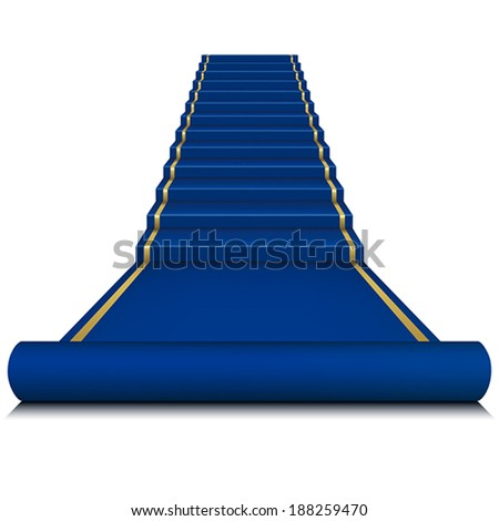 Blue carpet with ladder. Mesh. - stock vector