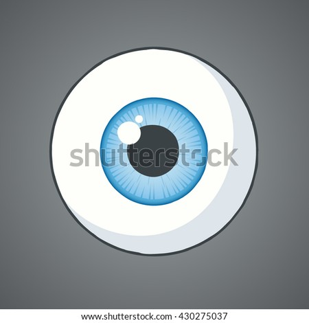 Blue cartoon eye ball.