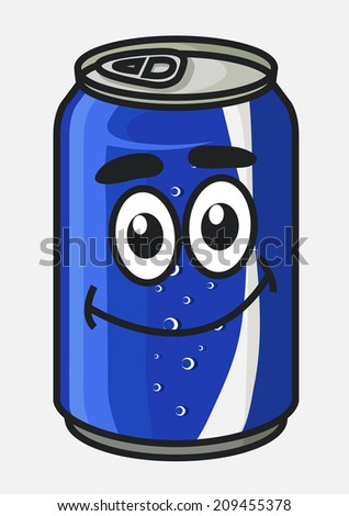 Blue cartoon soda or soft drink can cute character with bubbles isolated on white for beverage or logo design - stock vector