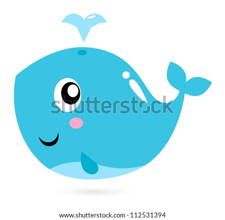 Blue cartoon whale isolated on white - stock vector