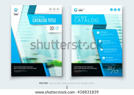 Blue Catalog Cover Design Corporate Business Stock Vector 458831839