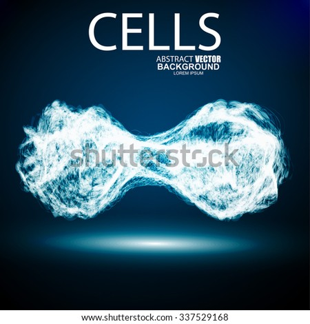 Blue cell vector background. For biology, medicine scientific, molecular dna. - stock vector