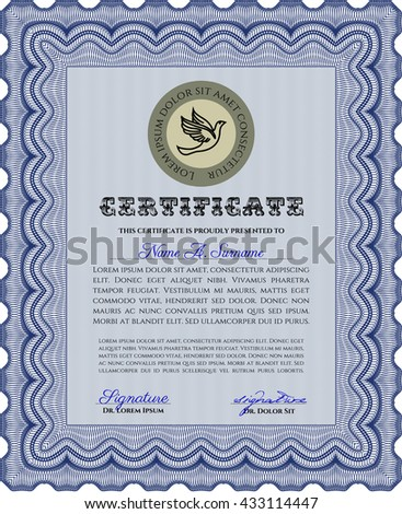 Blue Certificate. Detailed. Nice design. Printer friendly.