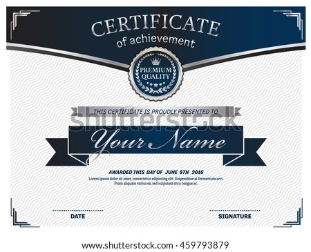 Blue certificate diploma template vector illustration stock vector blue certificate diploma template vector illustration design yadclub Choice Image