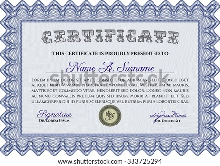 Blue Certificate of achievement. Diploma of completion. Sophisticated design. With guilloche pattern and background.  - stock vector