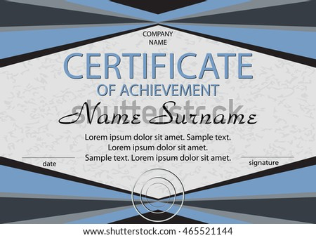 Blue certificate of achievement or diploma. Reward. Winning the competition. Award winner. Vector illustration. The text on separate layer.