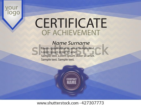 Blue certificate diploma template wax seal stock vector 427307773 blue certificate or diploma template with wax seal winning the competition award winner yelopaper Images