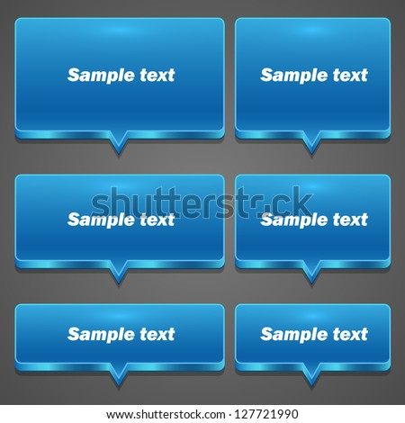 Blue Chat frame set icon all sizes, Vector illustration - stock vector